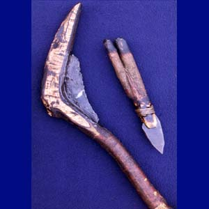 Hafted crescent sickle and blade knife